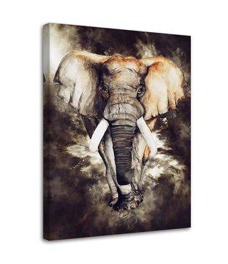 Schilderij Machtige olifant (print op canvas), 2 maten, bruin (wanddecoratie)