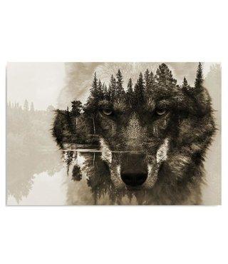 Schilderij Wolf in bos, 4 maten, bruin (wanddecoratie)