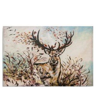 Schilderij Herfst hert (print op canvas), 4 maten (wanddecoratie)