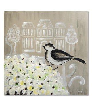 Schilderij Vogel op bloemen, 2 maten (wanddecoratie)