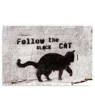 Schilderij Follow the black cat, 4 maten, zwart-wit (wanddecoratie)