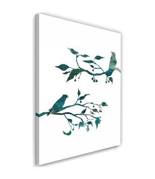 Schilderij Vogels op tak, 2 maten (wanddecoratie)