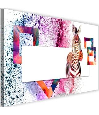 Schilderij Kleurrijke zebra, 2 maten, multi-gekleurd (wanddecoratie)