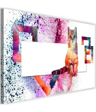 Schilderij Kleurrijke kitten, 2 maten, multi-gekleurd (wanddecoratie)