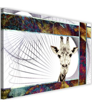 Schilderij Nieuwsgierige giraf , 2 maten, multi-gekleurd (wanddecoratie)