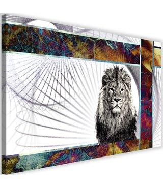 Schilderij Majestueuze leeuw, 2 maten, multi-gekleurd (wanddecoratie)