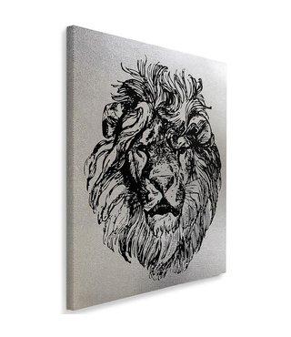 Schilderij Getekende leeuwenhoofd (print) zwart/grijs, 4 maten, (wanddecoratie)
