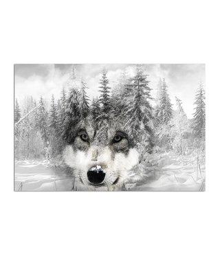 Schilderij Wolf in een besneeuwd bos, 2 maten, zwart-wit