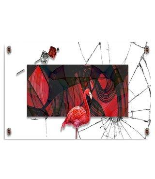 Schilderij Flamingo voor een schilderij, 2 maten, rood-zwart