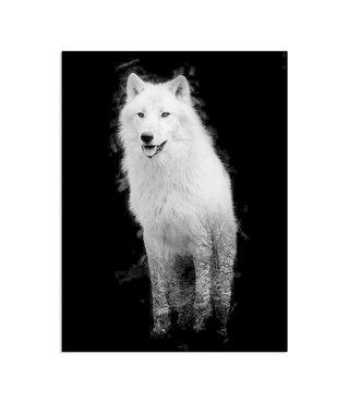 Schilderij Wolf in het bos, 2 maten, zwart-wit