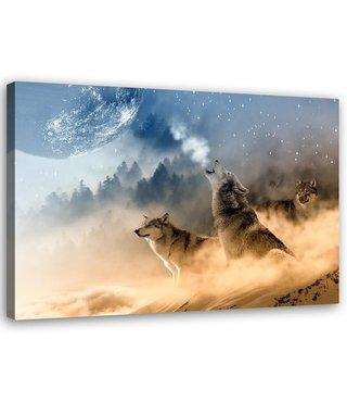 Schilderij Wolven in het maanlicht, 2 maten