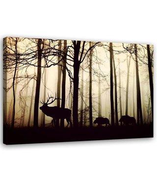 Schilderij Dieren in het bos, 2 maten, zwart-beige