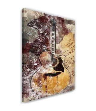 Schilderij Abstracte gitaar, 2 maten, bruin/beige, Premium print