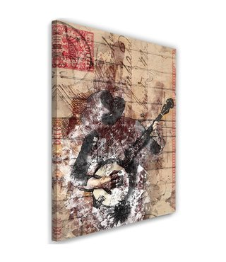 Schilderij Abstracte muzikant, 2 maten, beige, Premium print