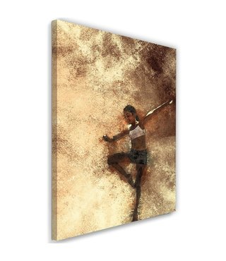 Schilderij Dansend meisje, 2 maten, beige, Premium print