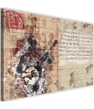 Schilderij - Abstracte banjo, beige, 2 maten, wanddecoratie