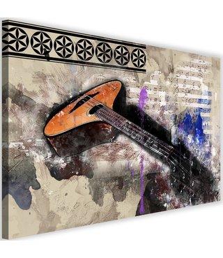 Schilderij Gitaar abstractie, 2maten, multi-gekleurd, premium print