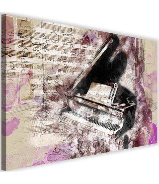 Schilderij Piano abstractie, 2 maten, beige/paars, wanddecoratie