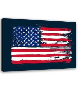 Schilderij - USA vlag, 2 maten, multi-gekleurd, wanddecoratie