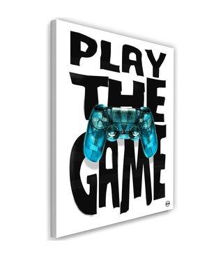 Schilderij - Play the game, zwart-wit/blauw, 2 maten, tekst op canvas