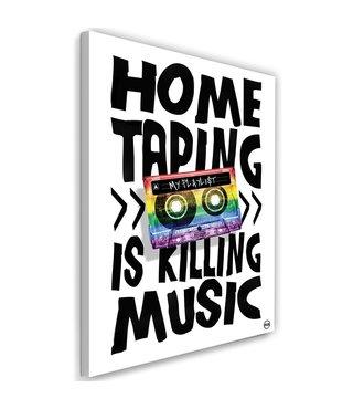 Schilderij - Home taping is killing music, multi-gekleurd, 2 maten, tekst op canvas