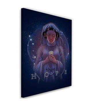 Schilderij ,Engel van de hoop , 2 maten , Paars zwart , wanddecoratie , Premium Print