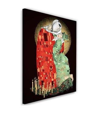 Schilderij , Mensen en kaarsen , 2 maten , multikleur , wanddecoratie , Premium Print