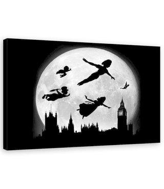 Schilderij ,  Peter Pan ,2 maten , zwart wit , Wanddecoratie , Premium Print