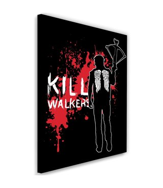Schilderij ,  Kill Walkers , 2 maten , filmpersonage , rood wit zwart , wanddecoratie