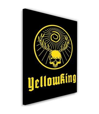Schilderij , Geel doodshoofd met gewei  II , 2 maten , zwart , wanddecoratie , Premium Print