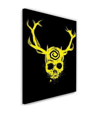 Schilderij , Geel doodshoofd met gewei , zwart , 2 maten ,  wanddecoratie , Premium Print