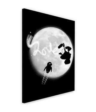 Schilderij ,  Robot liefde in de ruimte ,2 maten ,  zwart wit ,  wanddecoratie , Premium Print