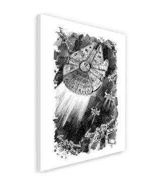 Schilderij ,Aanval van ruimteschip , 2 maten , zwart wit , wanddecoratie ,Premium Print