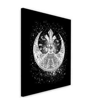 Schilderij , Getekend ruimteschip , 2 maten , zwart wit , wanddecoratie , Premium Print