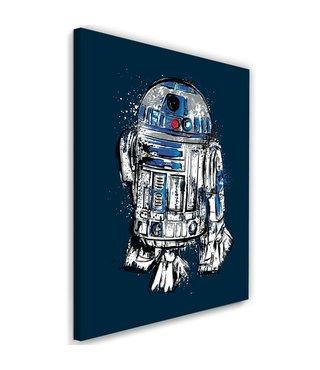 Schilderij ,R2-D2 , Filmposter , Star Wars , 2 maten ,blauw wit zwart , wanddecoratie ,  Premium Print