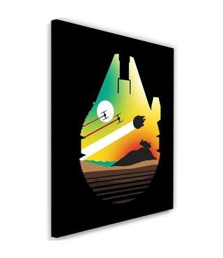 Schilderij ,   Ontsnapping van Woestijnplaneet , 2 maten , zwart oranje groen , wanddecoratie , Premium Print