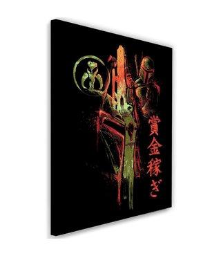 Schilderij ,Sci Fi Ridder , 2 maten , zwart rood , wanddecoratie , Premium print