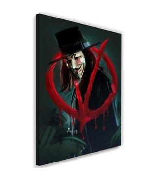 Schilderij , V for Vendetta , 2 maten , rood zwart , wanddecoratie ,  Filmposter