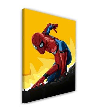 Schilderij , Filmposter , Spiderman , 2 maten  , rood blauw geel , wanddecoratie