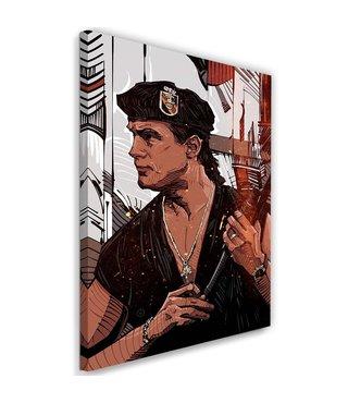 Schilderij , Steven Seagal , soldaat , 2 maten , wit zwart bruin , wanddecoratie , Filmposter ,