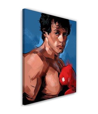 Schilderij , Rocky , 2 maten , rood bruin blauw ,wanddecoratie ,  Filmposter