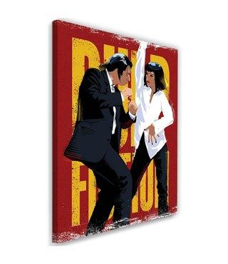 Schilderij , wanddecoratie ,  Filmposter , Pulp Fiction , rood geel zwart wit