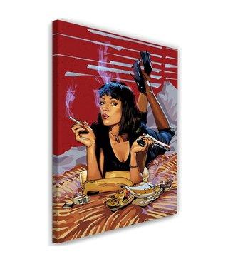 Schilderij ,  Vrouw op bed , Pulp Fiction ,2 maten, Filmposter , rood , zwart, multikleur ,wanddecoratie