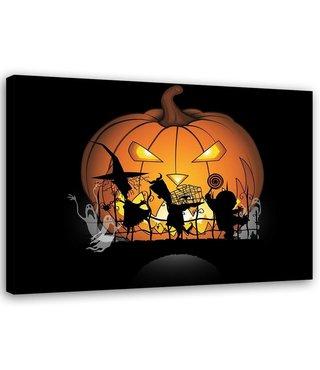 Schilderij , Halloween kinder spookjes , 2 maten , zwart oranje , wanddecoratie