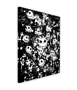 Schilderij - Jack Skellington, nightmare before Christmas, zwart-wit, 2 maten, wanddecoratie