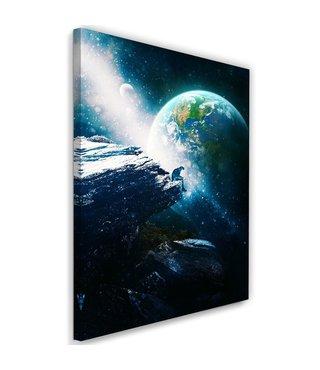 Schilderij - Astronaut in de ruimte, 2 maten, zwart/blauw, wanddecoratie
