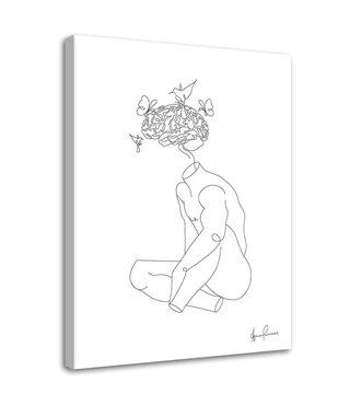 Schilderij - Abstracte lijnen, 2 maten, zwart-wit, wanddecoratie