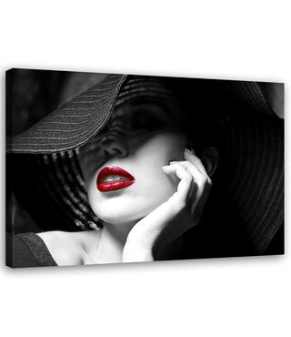 Schilderij , Vrouw met Hoed 2   , zwart wit rood , Premium print