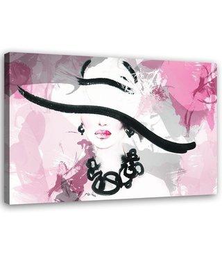 Schilderij , Vrouw met hoed ,2 maten , zwart wit roze , wanddecoratie