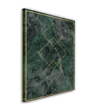 Schilderij , Gouden vierkanten  2 , 2 maten , groen geel , wanddecoratie